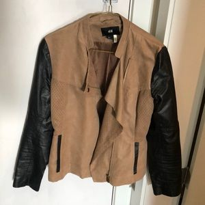 H&M leather and beige suede jacket